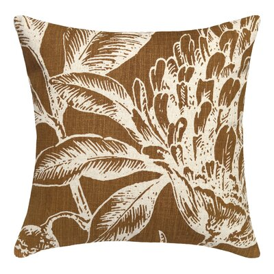 Floral Coral Botanical Linen Throw Pillow Color: Caramel