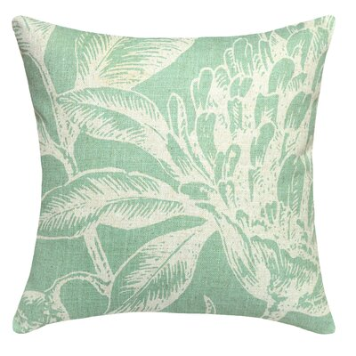 Floral Coral Botanical Linen Throw Pillow Color: Aqua