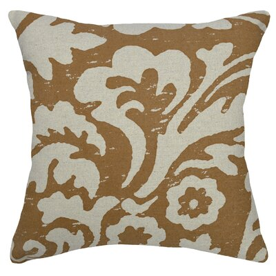 Floral Jacobean Linen Throw Pillow Color: Caramel