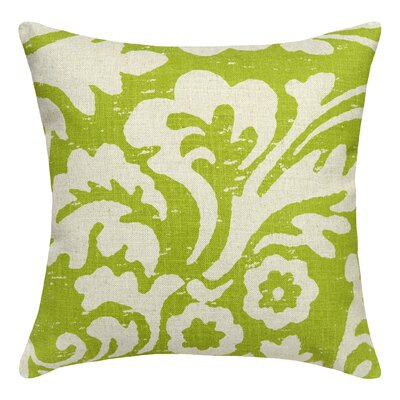 Floral Jacobean Linen Throw Pillow Color: Chartreuse Green