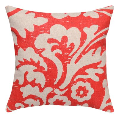 Floral Jacobean Linen Throw Pillow Color: Coral Red