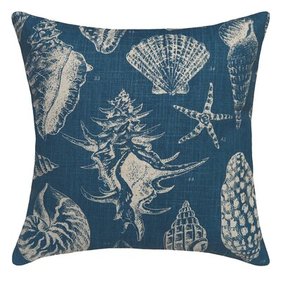 Seashell Printed Linen Throw Pillow