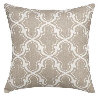 Trellis Linen Throw Pillow Color: Taupe