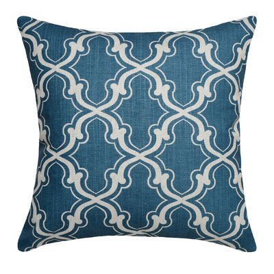 Trellis Linen Throw Pillow Color: Navy Blue