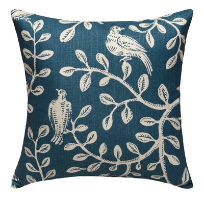 Birds and Vines Linen Throw Pillow Color: Navy Blue
