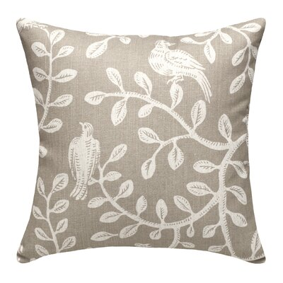 Birds and Vines Linen Throw Pillow Color: Taupe