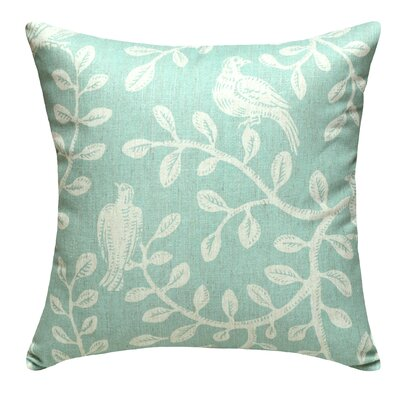 Birds and Vines Linen Throw Pillow Color: Aqua