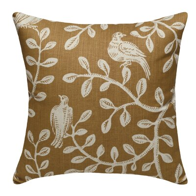 Birds and Vines Linen Throw Pillow Color: Caramel