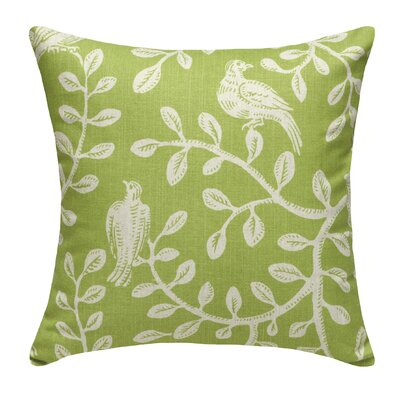 Birds and Vines Linen Throw Pillow Color: Chartreuse Green