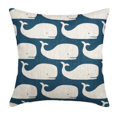 Whales Linen Throw Pillow Color: Navy Blue