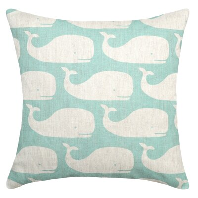 Whales Linen Throw Pillow Color: Aqua