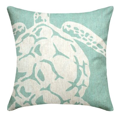 Sea Turtle Linen Throw Pillow Color: Aqua