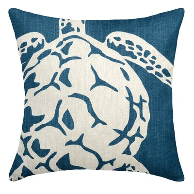 Sea Turtle Linen Throw Pillow Color: Navy Blue