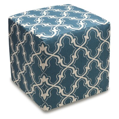 Trellis Cube Ottoman Color: Navy Blue