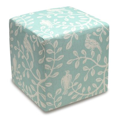 Birds and Vines Cube Ottoman Color: Aqua