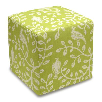 Birds and Vines Cube Ottoman Color: Chartreuse
