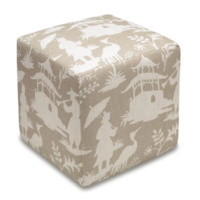 Chinoiserie Upholstered Cube Ottoman Color: Taupe