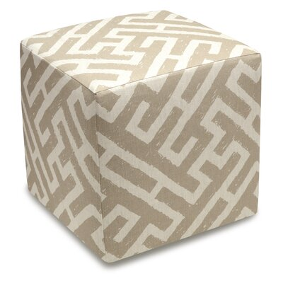 Acevedo Lattice Upholstered Cube Ottoman Color: Taupe