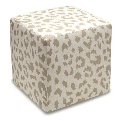 Animal Print Upholstered Cube Ottoman Color: Taupe