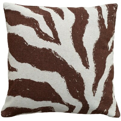 Graphic Zebra Screen Print Linen Throw Pillow Color: Brown
