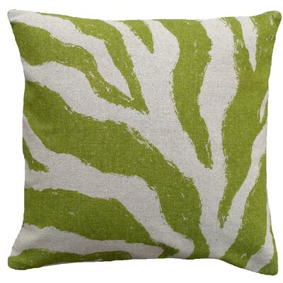 Graphic Zebra Screen Print Linen Throw Pillow Color: Green