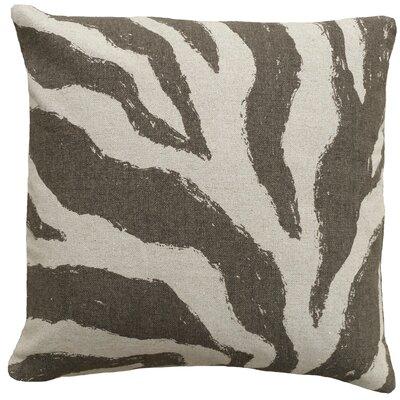 Graphic Zebra Screen Print Linen Throw Pillow Color: Grey