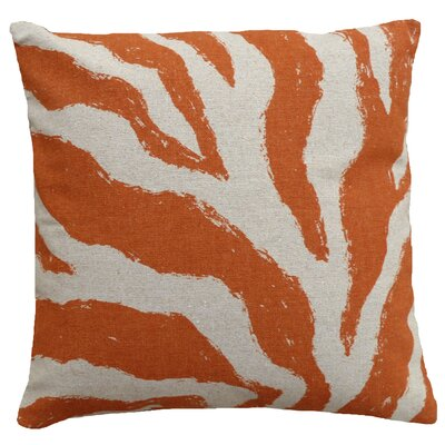 Graphic Zebra Screen Print Linen Throw Pillow Color: Orange