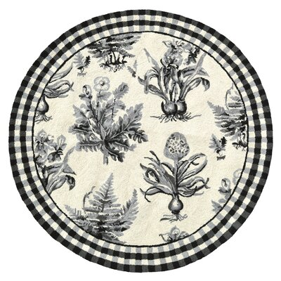 Floral Botanical Hook Black / White Area Rug Rug Size: 4 x 4