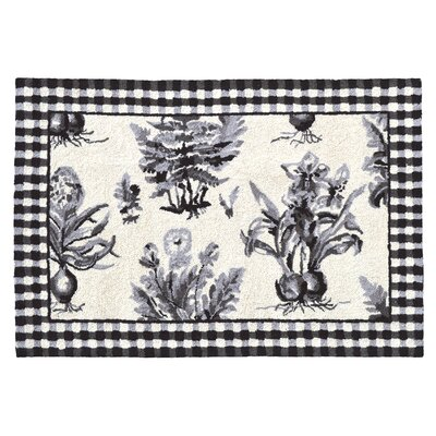 Floral Botanical Hook Black / White Area Rug Rug Size: 2 x 3