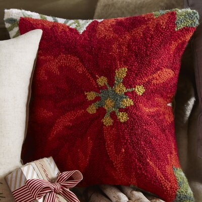 Poinsettia Wool Throw Pillow