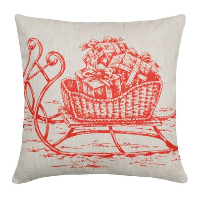 Sleigh Linen Throw Pillow Color: Red