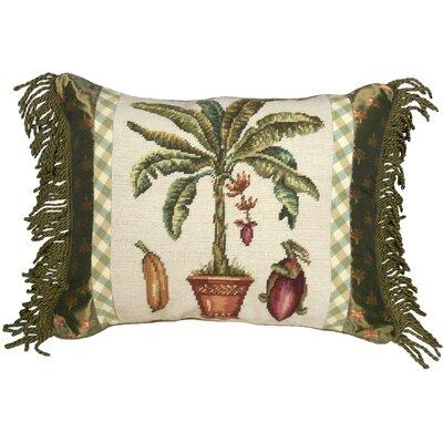 Tropial Banana Tree Needlepoint Wool Lumbar Pillow