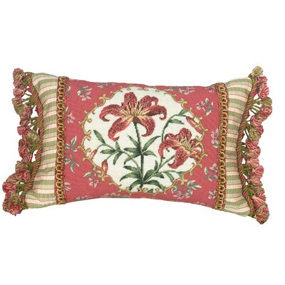 Floral Tiger Lily Petit Point Wool Lumbar Pillow