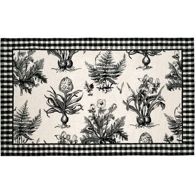 Floral Botanical Hook Black / White Area Rug Rug Size: 3 x 5