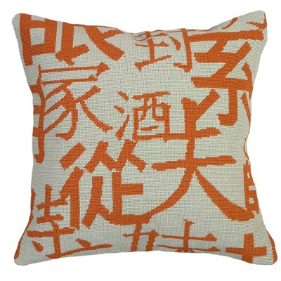 Graphic Chinese Characters Needlepoint Wool Throw Pillow Color: Orange