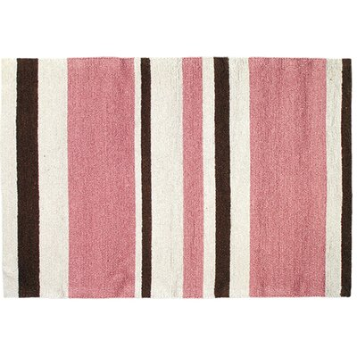 Modern Pink/Brown Stripe Hook Area Rug Rug Size: 2 x 3