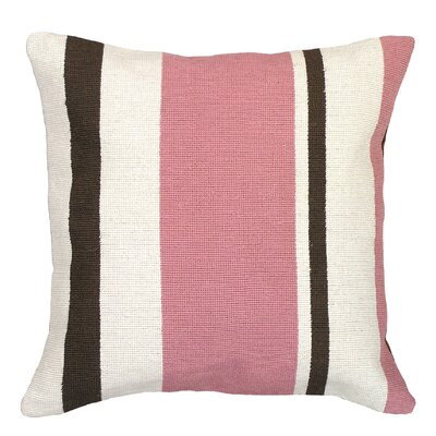 Graphic Stripes Needlepoint Wool Throw Pillow Color: Pink / Brown