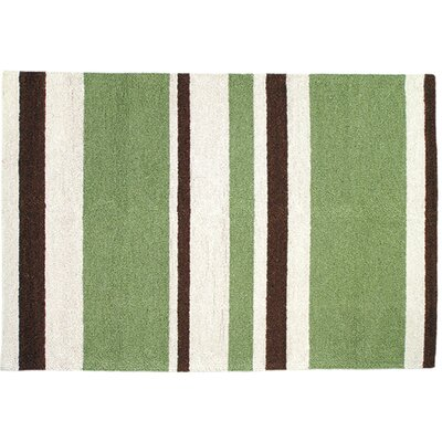 Modern Green/Brown Stripe Hook Rug Rug Size: 2 x 3