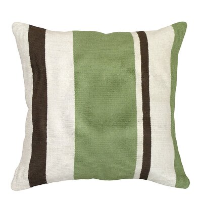 Graphic Stripes Needlepoint Wool Throw Pillow Color: Green / Brown