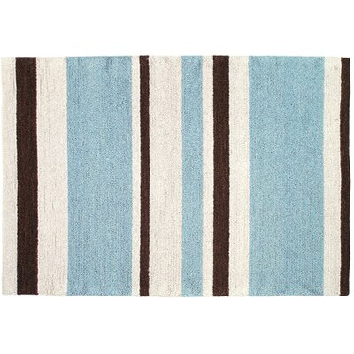 Modern Blue/Brown Striped Hook Rug Rug Size: 3 x 5