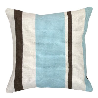 Graphic Stripes Needlepoint Wool Throw Pillow Color: Blue / Brown
