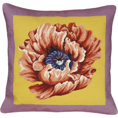 Floral Poppy Needlepoint Wool Throw Pillow Color: Lilac / Yellow