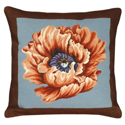 Floral Poppy Needlepoint Wool Throw Pillow Color: Brown / Blue