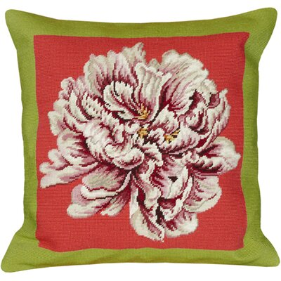Floral Peony Needlepoint Wool Throw Pillow Color: Green / Pink