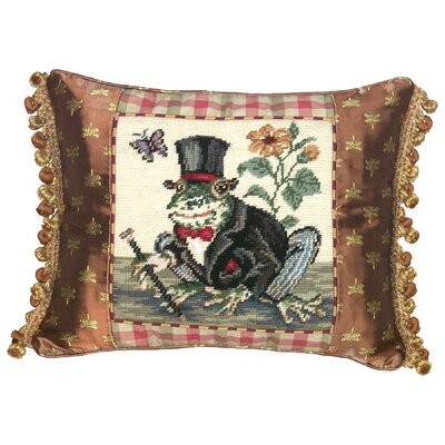 Whimsical Frog Gentleman Needlepoint Wool Lumbar Pillow