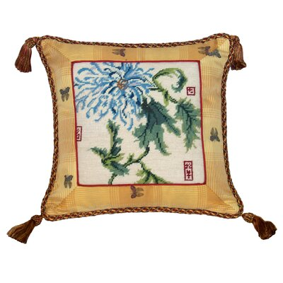 Floral Chrysanthemum Needlepoint Wool Throw Pillow