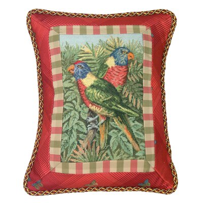 Tropial Parrot Petit Point with Trimmed Wool Lumbar Pillow