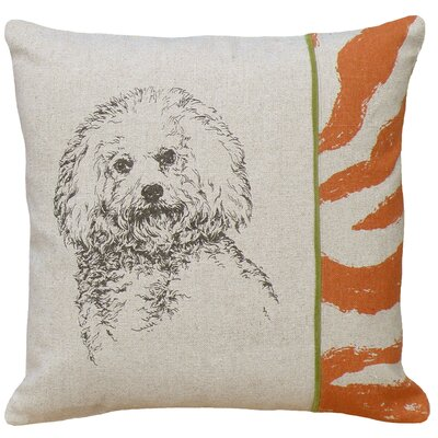 Dog Bichon Screen Print Linen Throw Pillow