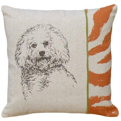 Dog Bichon Screen Print Linen Throw Pillow