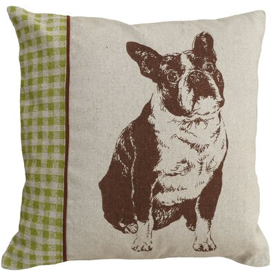 Dog Boston Terrier Screen Print Linen Throw Pillow